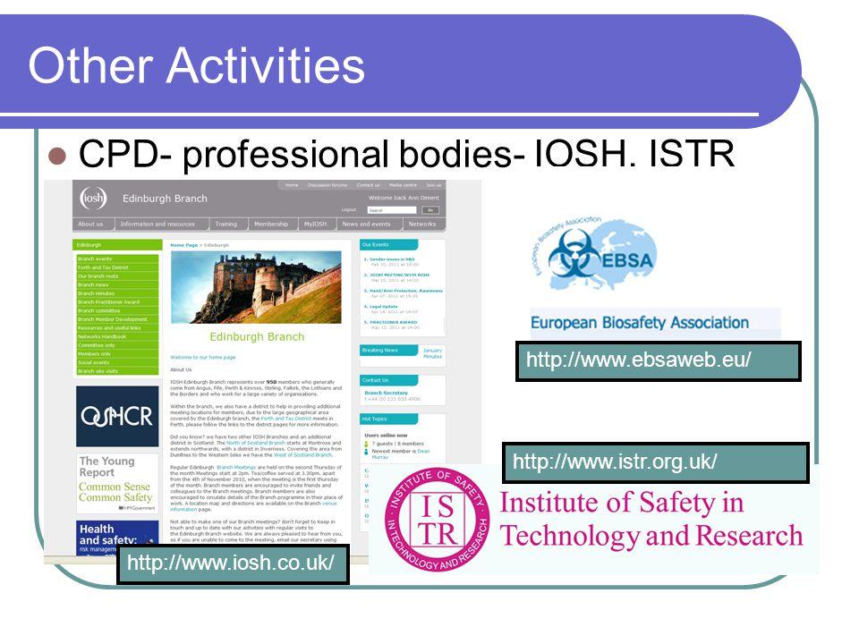 Other Activities CPD- professional bodies- IOSH, ISTR http://www.istr.org.uk/ http://www.ebsaweb.eu/ http://www.iosh.co.uk/