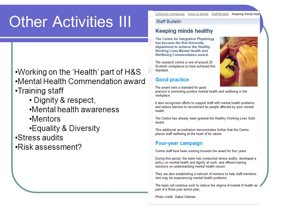 Other Activities III Working on the 'Health' part of H&S Mental Health Commendation award Training staff Dignity & respect, Mental health awareness Me