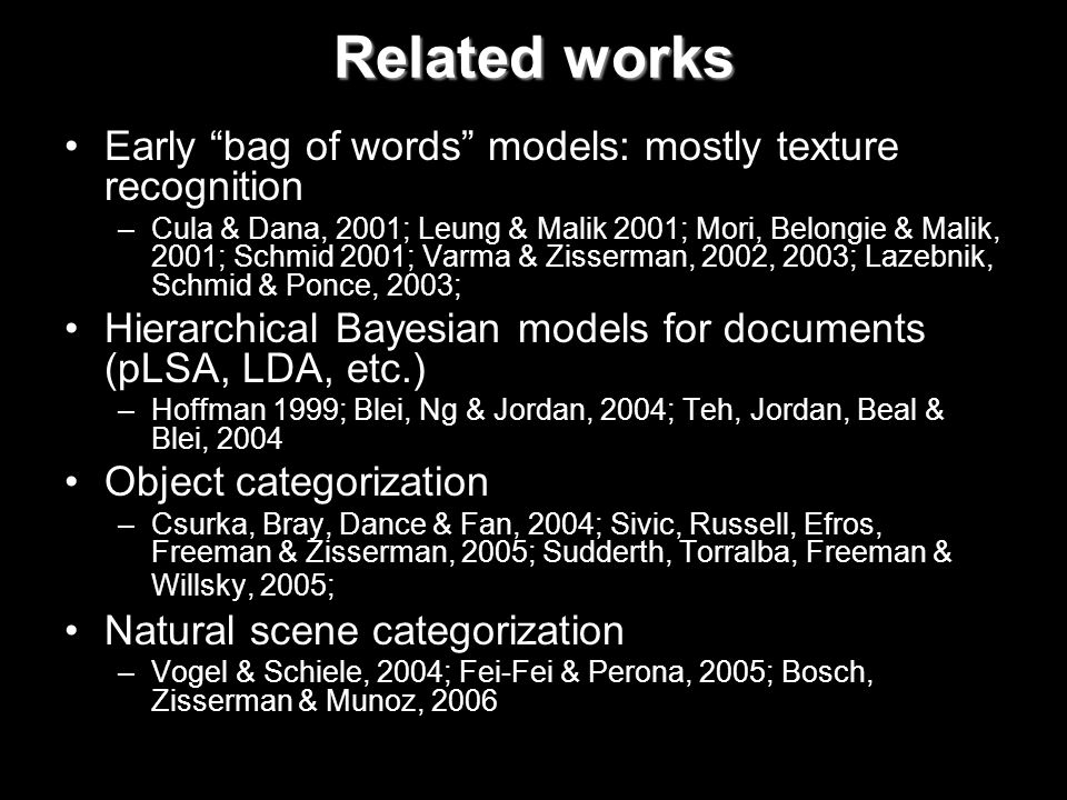 Related works Early bag of words models: mostly texture recognition –Cula & Dana, 2001; Leung & Malik 2001; Mori, Belongie & Malik, 2001; Schmid 2001; Varma & Zisserman, 2002, 2003; Lazebnik, Schmid & Ponce, 2003; Hierarchical Bayesian models for documents (pLSA, LDA, etc.) –Hoffman 1999; Blei, Ng & Jordan, 2004; Teh, Jordan, Beal & Blei, 2004 Object categorization –Csurka, Bray, Dance & Fan, 2004; Sivic, Russell, Efros, Freeman & Zisserman, 2005; Sudderth, Torralba, Freeman & Willsky, 2005; Natural scene categorization –Vogel & Schiele, 2004; Fei-Fei & Perona, 2005; Bosch, Zisserman & Munoz, 2006