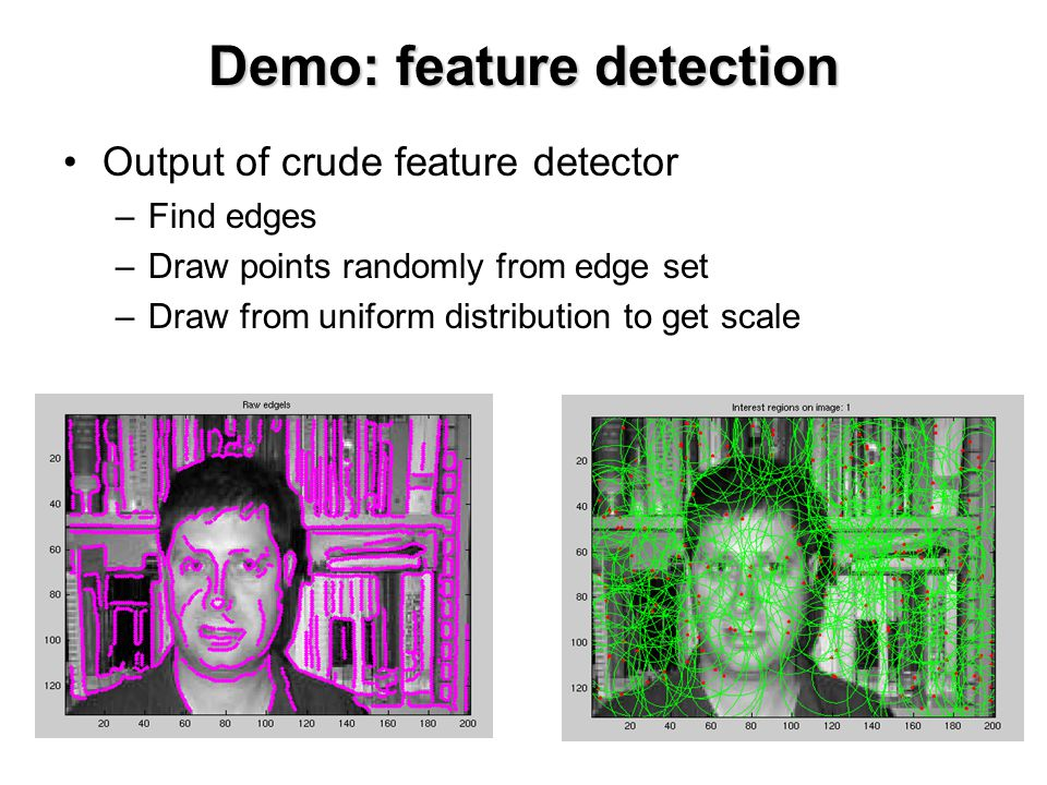 Output of crude feature detector –Find edges –Draw points randomly from edge set –Draw from uniform distribution to get scale Demo: feature detection