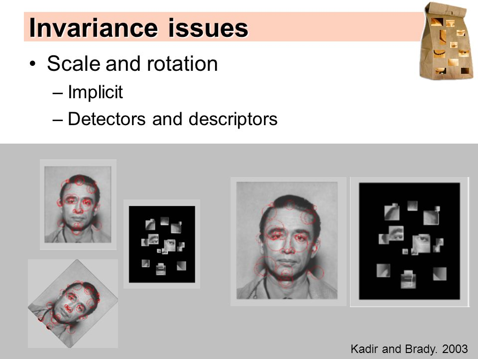Invariance issues Scale and rotation –Implicit –Detectors and descriptors Kadir and Brady. 2003