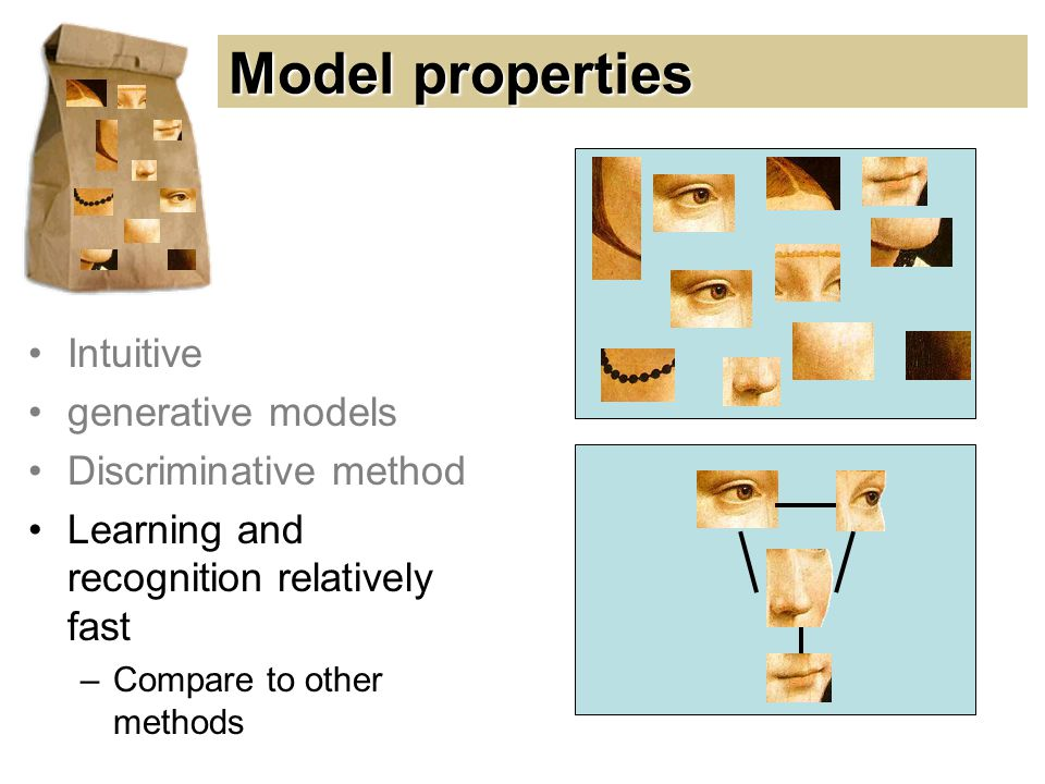 Model properties Intuitive generative models Discriminative method Learning and recognition relatively fast –Compare to other methods