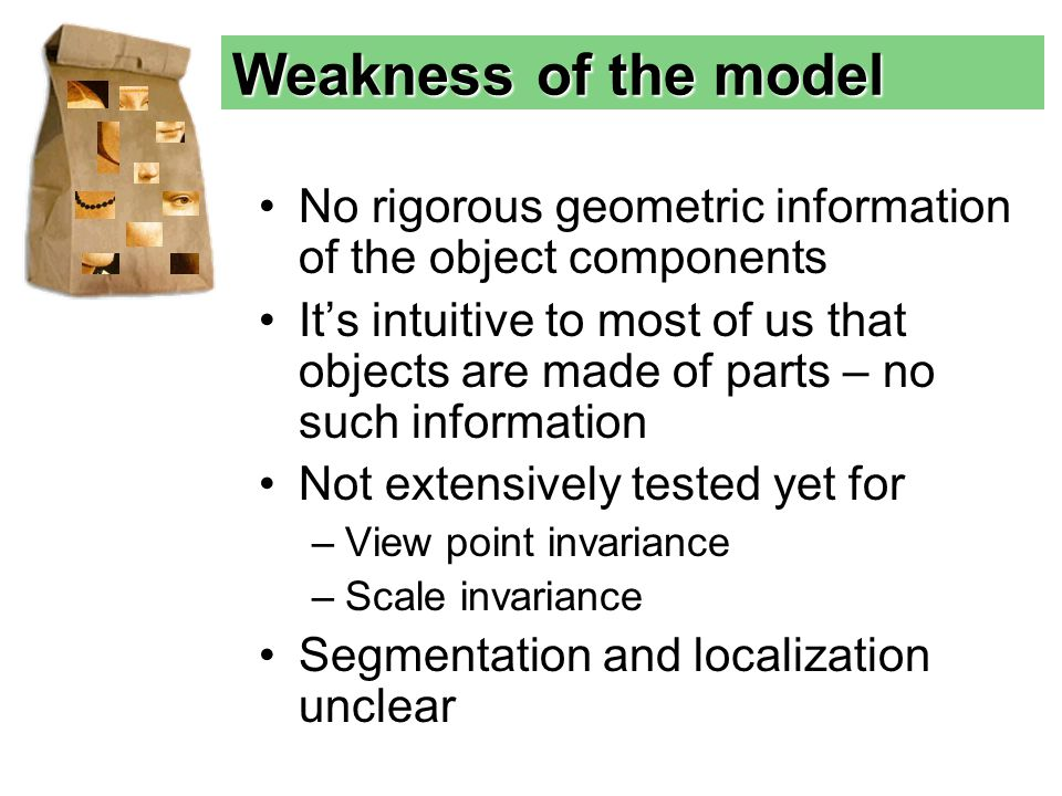No rigorous geometric information of the object components It's intuitive to most of us that objects are made of parts – no such information Not extensively tested yet for –View point invariance –Scale invariance Segmentation and localization unclear Weakness of the model
