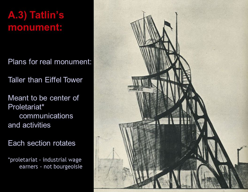 A.3) Tatlin's monument: Scaled-down London version Plans for real monument: Taller than Eiffel Tower Meant to be center of Proletariat* communications and activities Each section rotates *proletariat – industrial wage earners – not bourgeoisie