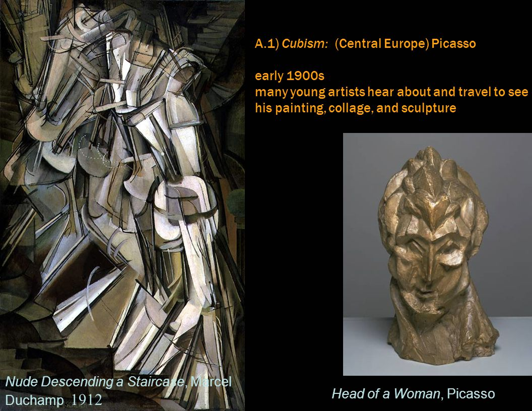 A.1) Cubism: (Central Europe) Picasso Planar break-down eliminates traditional perspectival space - not illusionistic, autonomous object accepts photography as recording tool