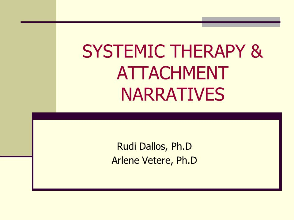 SYSTEMIC THERAPY & ATTACHMENT NARRATIVES Rudi Dallos, Ph.D Arlene Vetere, Ph.D