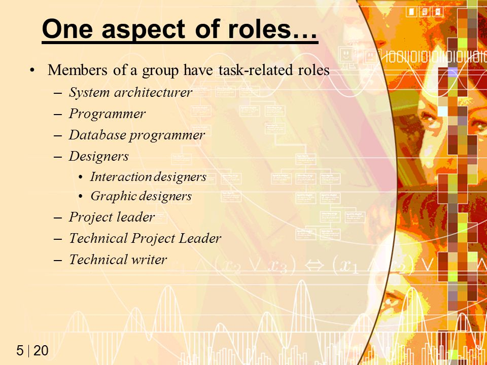 20 5 One aspect of roles… Members of a group have task-related roles –System architecturer –Programmer –Database programmer –Designers Interaction designers Graphic designers –Project leader –Technical Project Leader –Technical writer