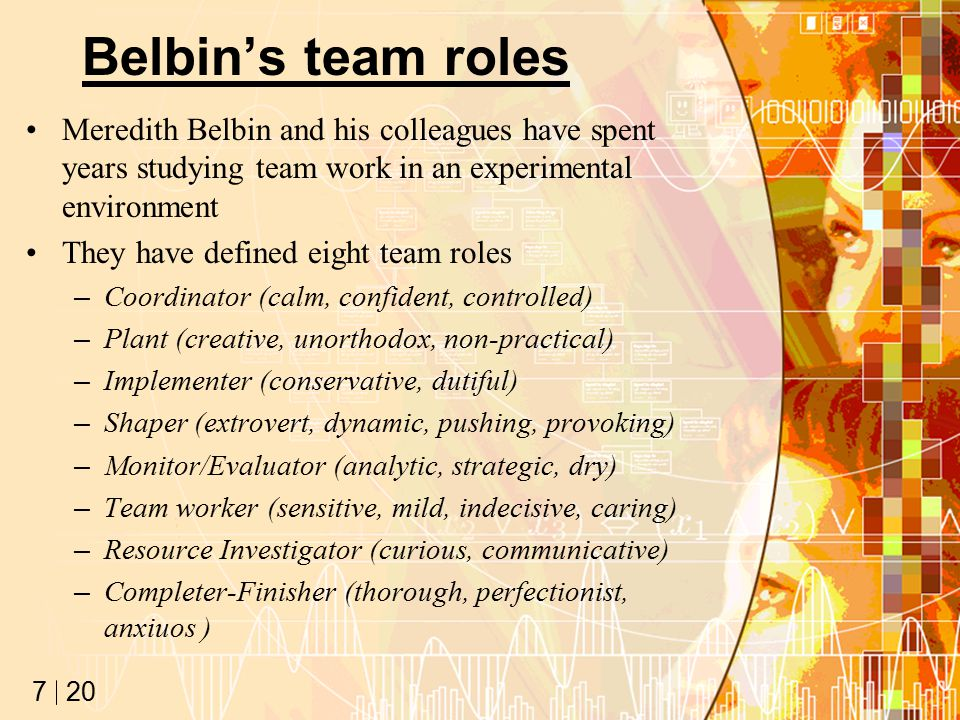 20 7 Belbin's team roles Meredith Belbin and his colleagues have spent years studying team work in an experimental environment They have defined eight team roles –Coordinator (calm, confident, controlled) –Plant (creative, unorthodox, non-practical) –Implementer (conservative, dutiful) –Shaper (extrovert, dynamic, pushing, provoking) –Monitor/Evaluator (analytic, strategic, dry) –Team worker (sensitive, mild, indecisive, caring) –Resource Investigator (curious, communicative) –Completer-Finisher (thorough, perfectionist, anxiuos )