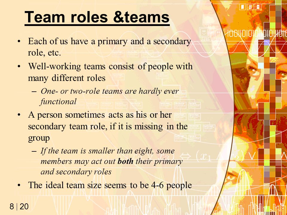 20 8 Team roles &teams Each of us have a primary and a secondary role, etc.