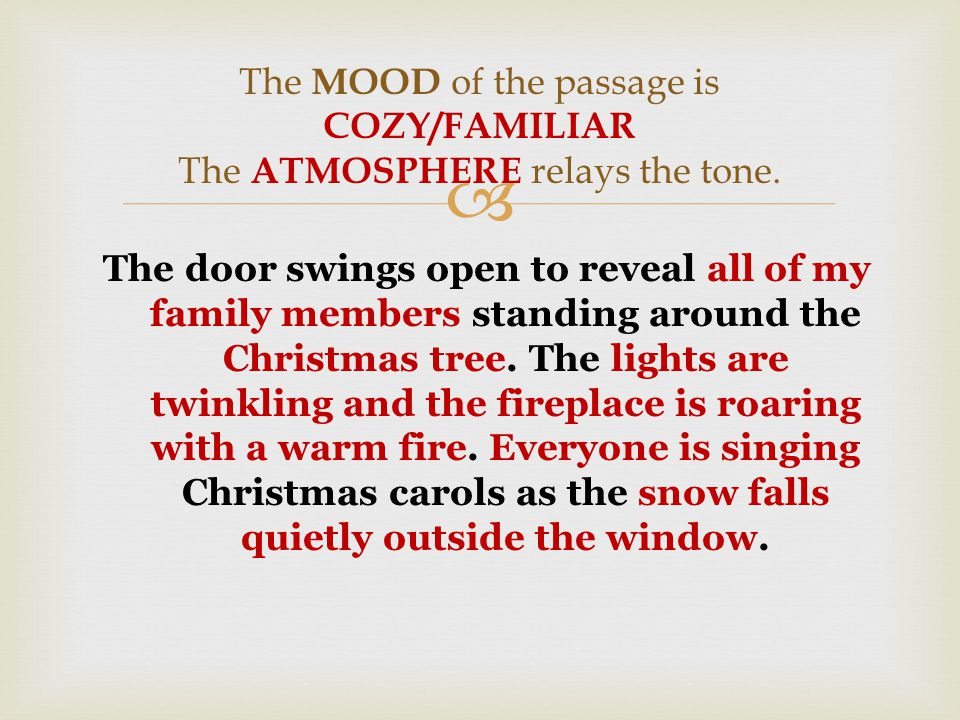  The door swings open to reveal all of my family members standing around the Christmas tree.