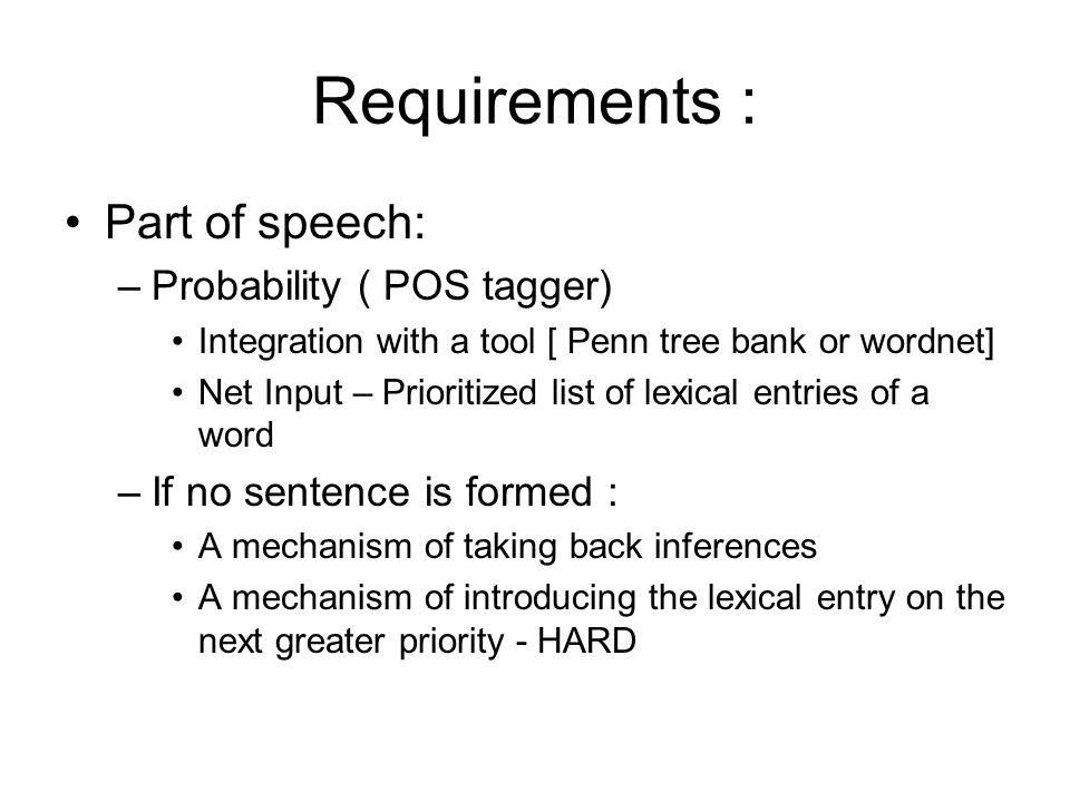 Requirements : Part of speech: –Probability ( POS tagger) Integration with a tool [ Penn tree bank or wordnet] Net Input – Prioritized list of lexical