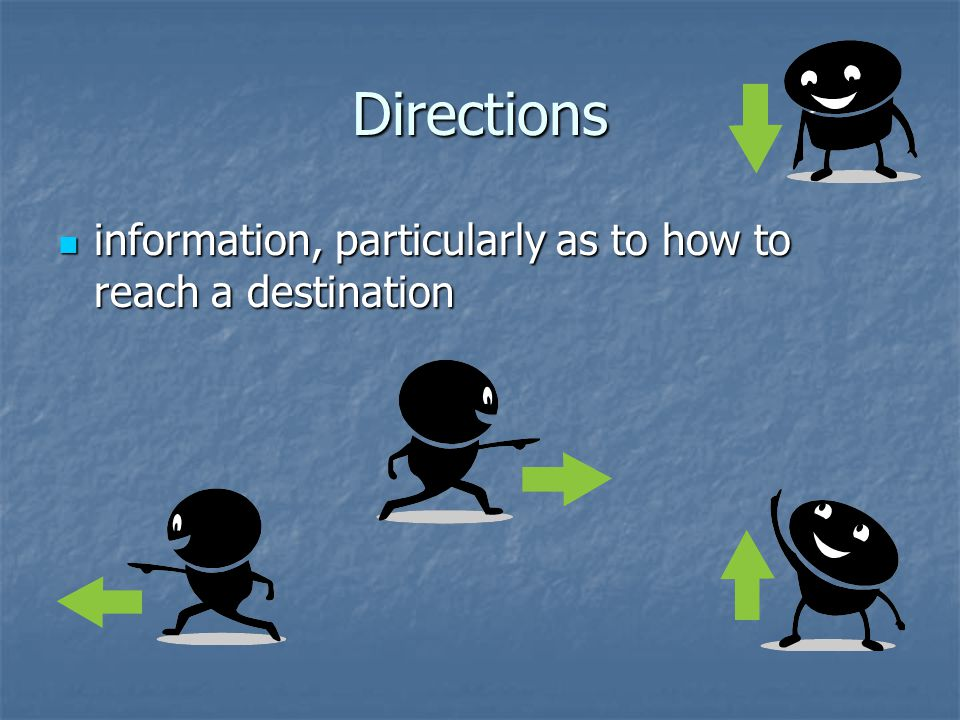 Directions information, particularly as to how to reach a destination information, particularly as to how to reach a destination