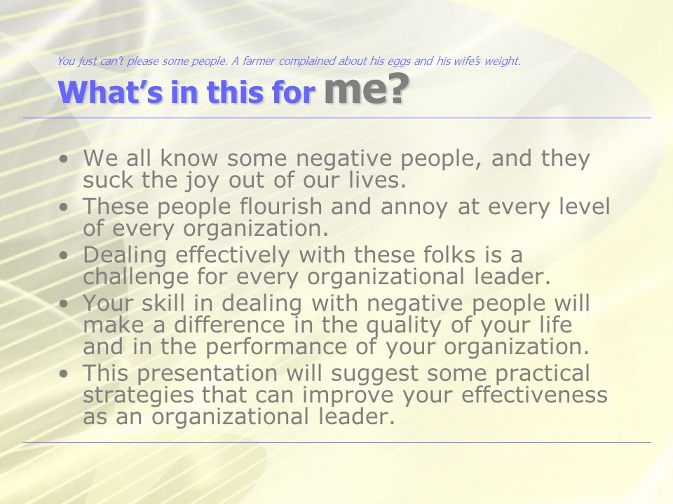 What are some successful strategies for dealing with negative people.