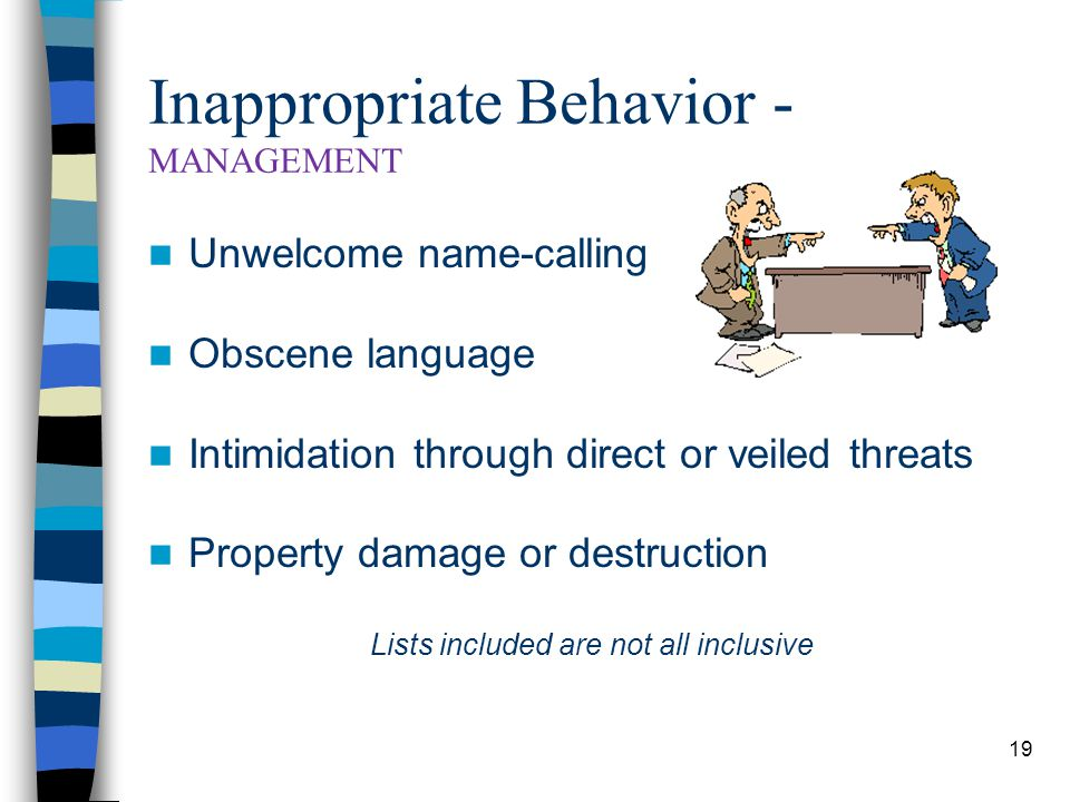 19 Inappropriate Behavior - MANAGEMENT Unwelcome name-calling Obscene language Intimidation through direct or veiled threats Property damage or destruction Lists included are not all inclusive