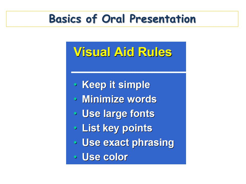Basics of Oral Presentation
