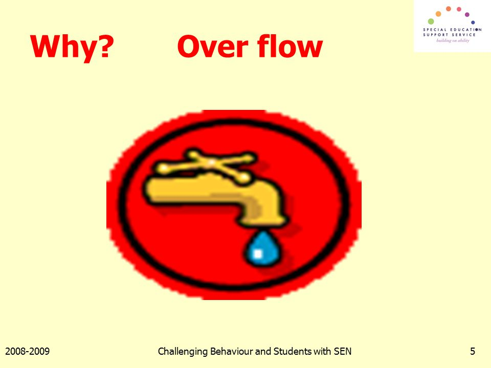 2008-2009Challenging Behaviour and Students with SEN5 Why? Over flow