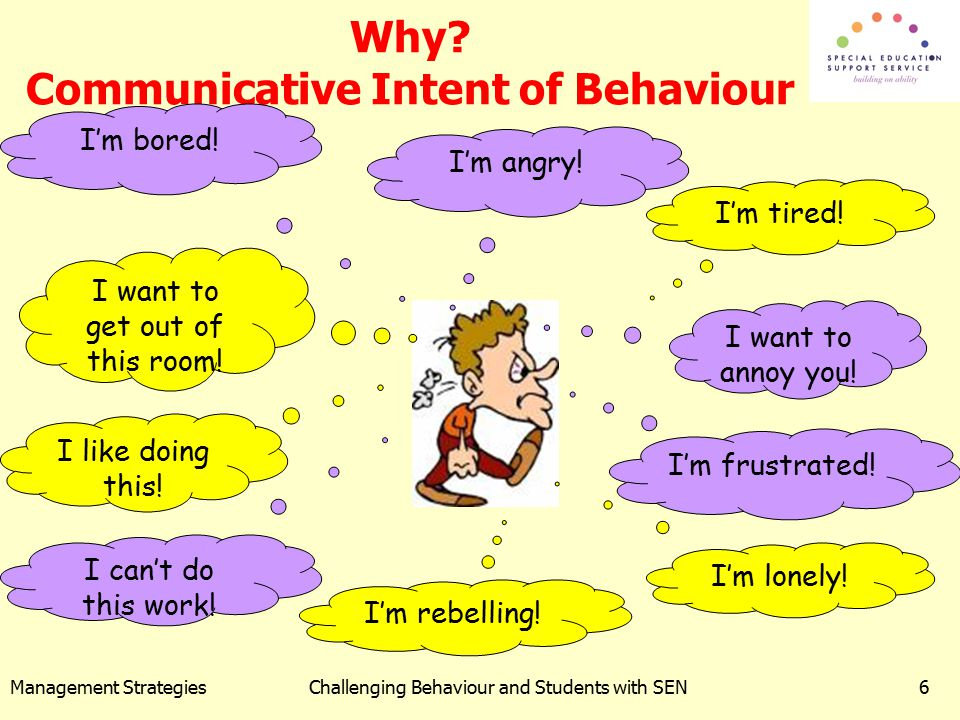 Management StrategiesChallenging Behaviour and Students with SEN6 Why? Communicative Intent of Behaviour I'm tired! I'm bored! I'm angry! I want to ge