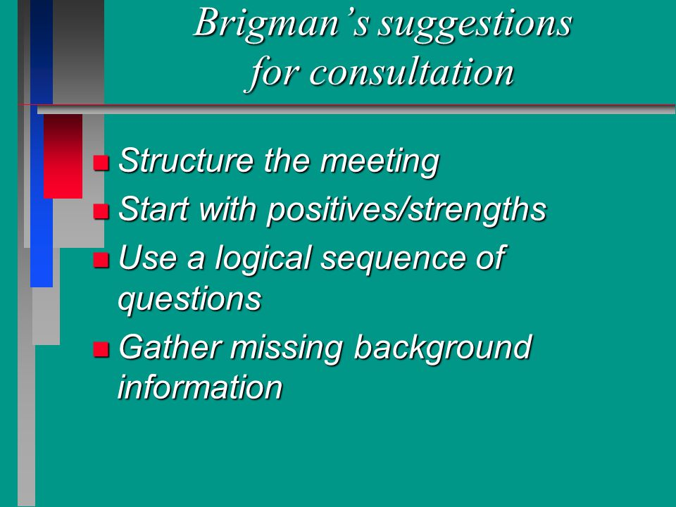 Brigman's suggestions for consultation n Structure the meeting n Start with positives/strengths n Use a logical sequence of questions n Gather missing