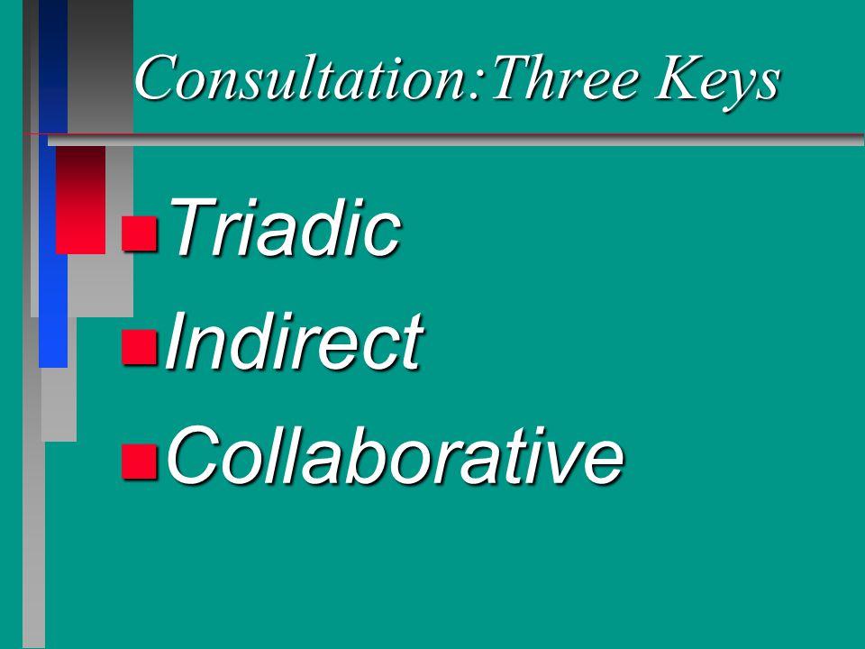 Consultation:Three Keys n Triadic n Indirect n Collaborative