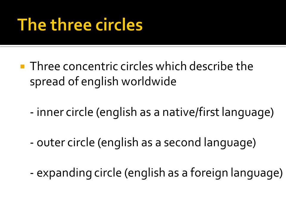  Three concentric circles which describe the spread of english worldwide - inner circle (english as a native/first language) - outer circle (english as a second language) - expanding circle (english as a foreign language)