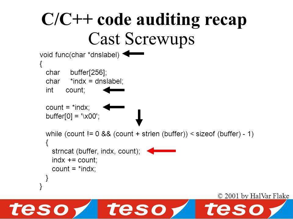void func(char *dnslabel) { char buffer[256]; char *indx = dnslabel; int count; count = *indx; buffer[0] = \x00 ; while (count != 0 && (count + strlen (buffer)) < sizeof (buffer) - 1) { strncat (buffer, indx, count); indx += count; count = *indx; } © 2001 by HalVar Flake Cast Screwups C/C++ code auditing recap