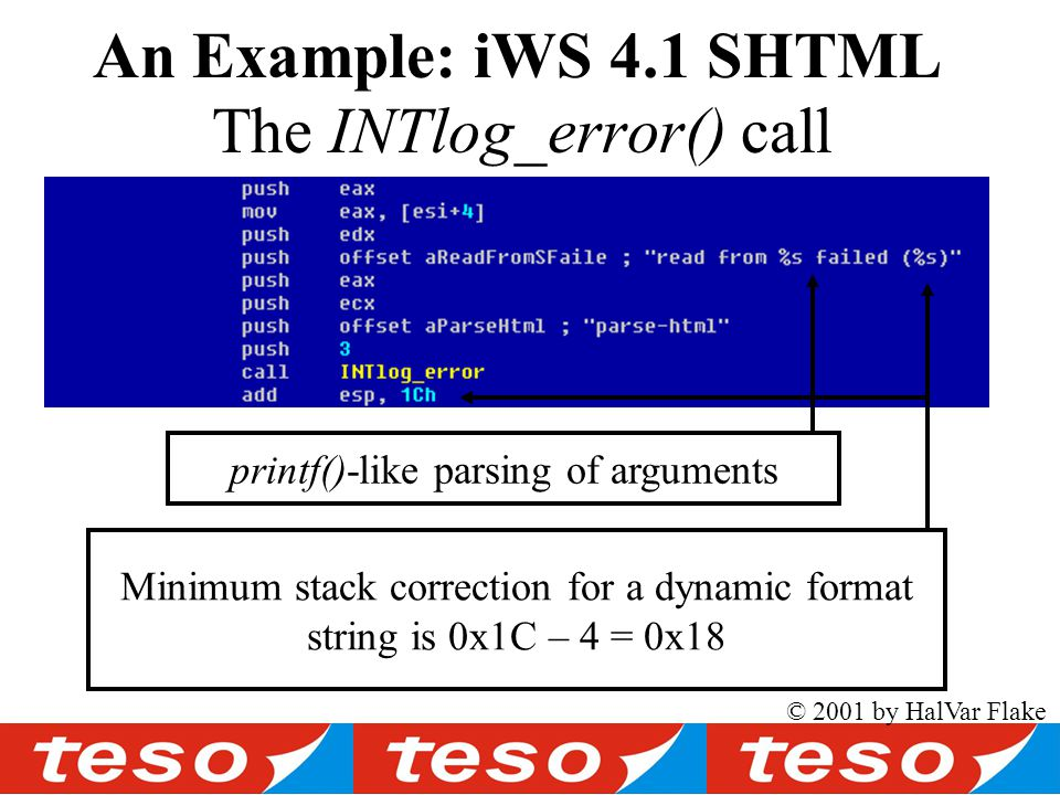 © 2001 by HalVar Flake The INTlog_error() call An Example: iWS 4.1 SHTML printf()-like parsing of arguments Minimum stack correction for a dynamic format string is 0x1C – 4 = 0x18