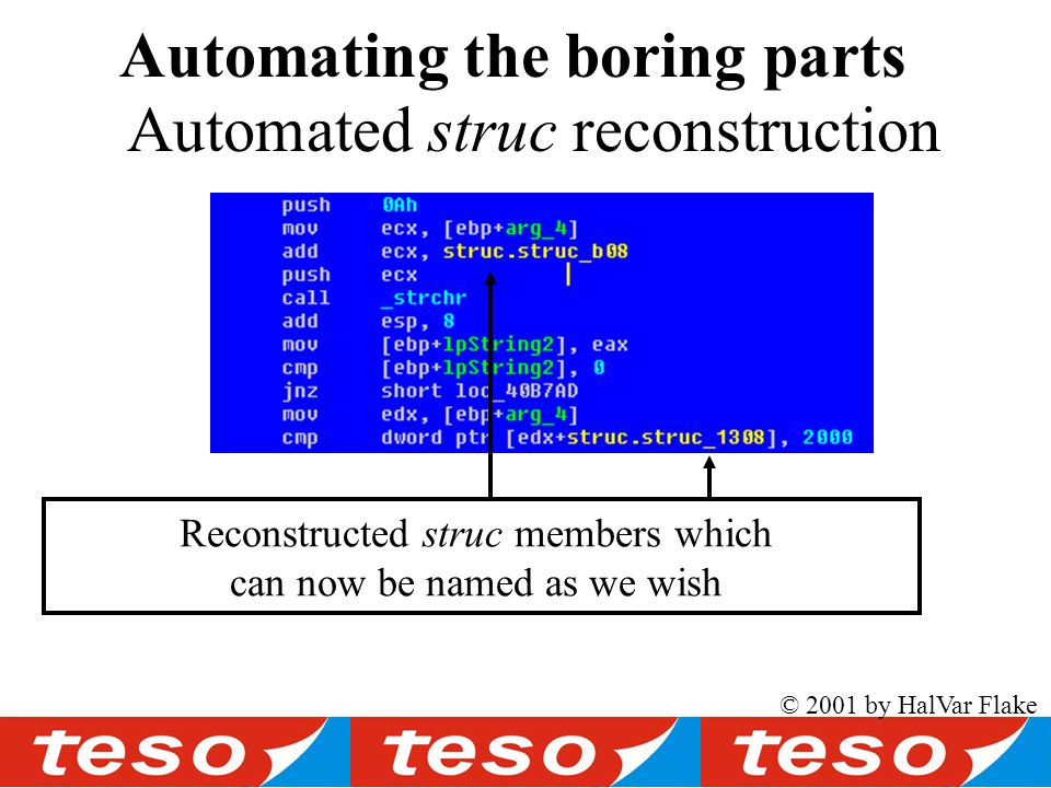 Automated struc reconstruction Automating the boring parts © 2001 by HalVar Flake Reconstructed struc members which can now be named as we wish