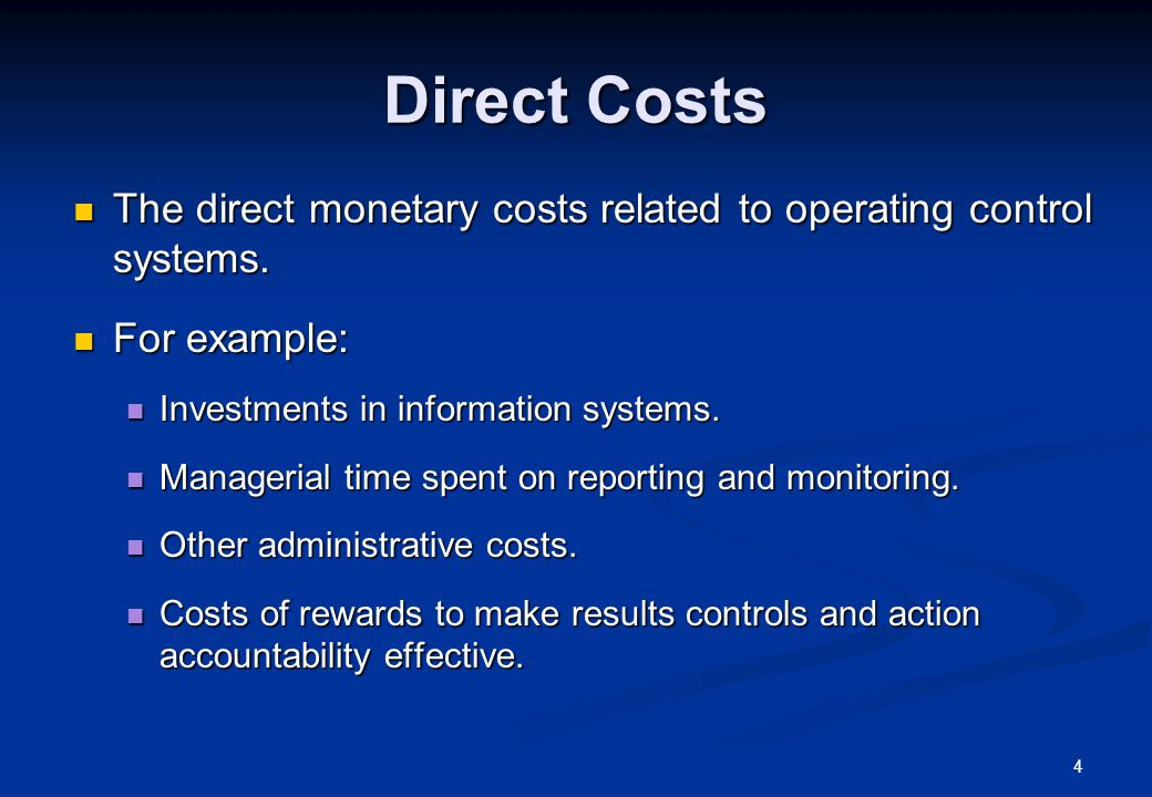 5 Direct Costs (cont.) Quantification of direct costs can be more or less straightforward: Quantification of direct costs can be more or less straightforward: Easy to quantify: Easy to quantify: cost of cash bonuses, internal audit staffs, etc.; cost of cash bonuses, internal audit staffs, etc.; Difficult to quantify: Difficult to quantify: time spend on planning and budgeting activities, on pre-action reviews, etc.