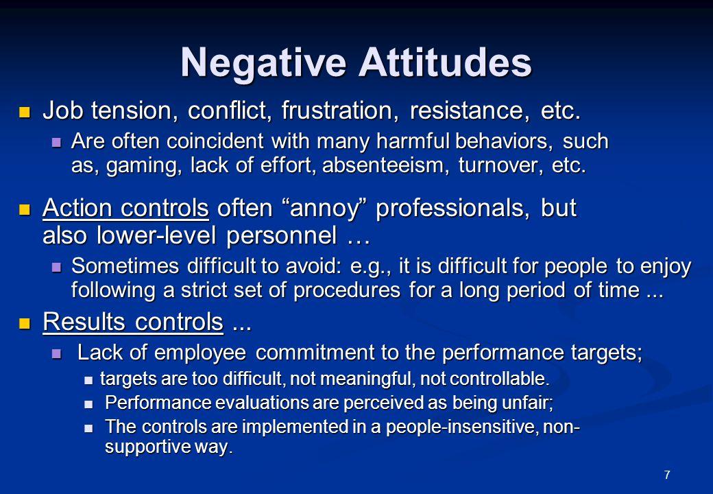 7 Negative Attitudes Job tension, conflict, frustration, resistance, etc. Job tension, conflict, frustration, resistance, etc. Are often coincident wi