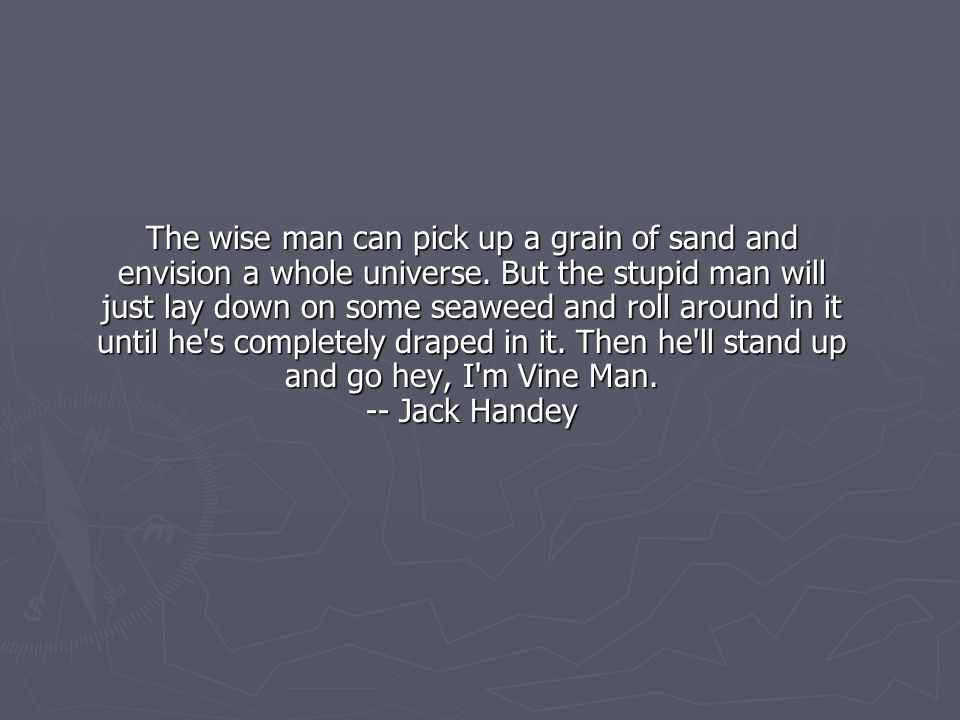 The wise man can pick up a grain of sand and envision a whole universe.