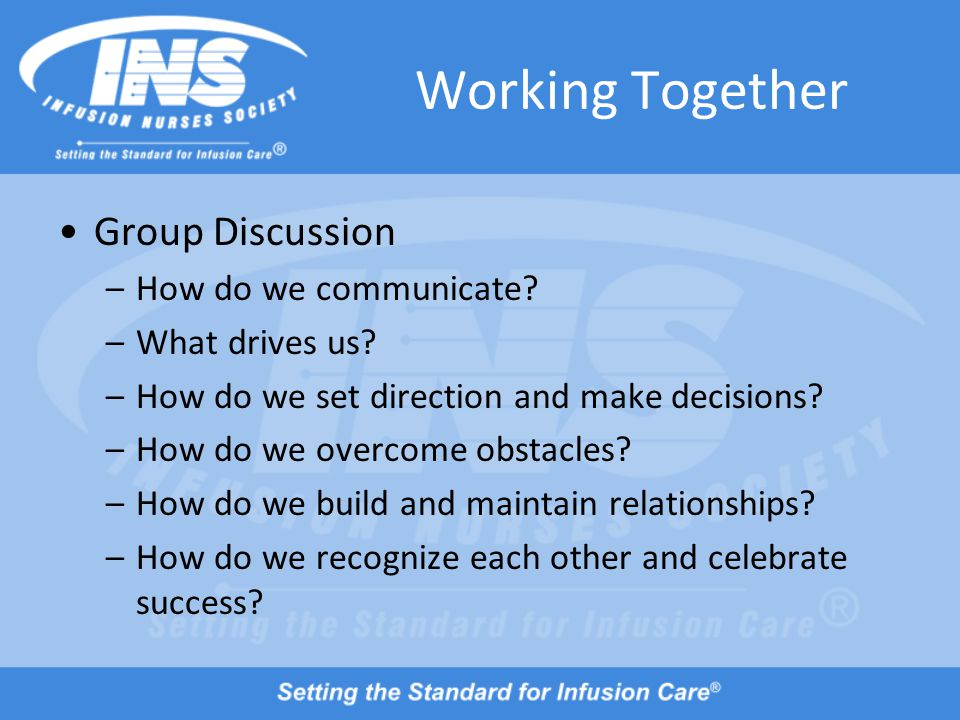 Working Together Group Discussion –How do we communicate.