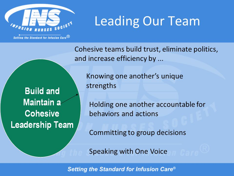 Leading Our Team Knowing one another's unique strengths Holding one another accountable for behaviors and actions Committing to group decisions Speaking with One Voice Cohesive teams build trust, eliminate politics, and increase efficiency by...