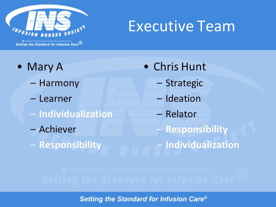 Executive Team Mary A –Harmony –Learner –Individualization –Achiever –Responsibility Chris Hunt –Strategic –Ideation –Relator –Responsibility –Individualization