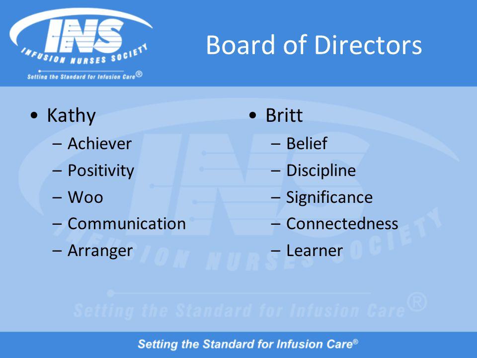 Board of Directors Kathy –Achiever –Positivity –Woo –Communication –Arranger Britt –Belief –Discipline –Significance –Connectedness –Learner