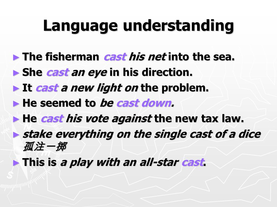 Language understanding ► The fisherman cast his net into the sea.