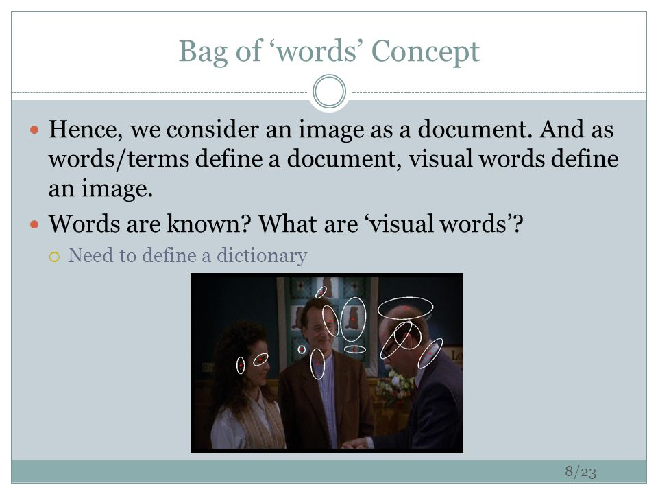 Bag of 'words' Concept : Construct a dictionary feature detection & representation codewords dictionary image representation1.