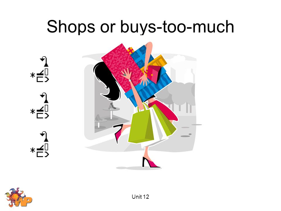 Unit 12 Shops or buys-too-much