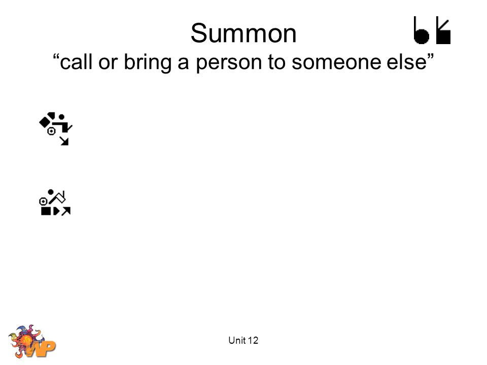 Unit 12 Summon call or bring a person to someone else