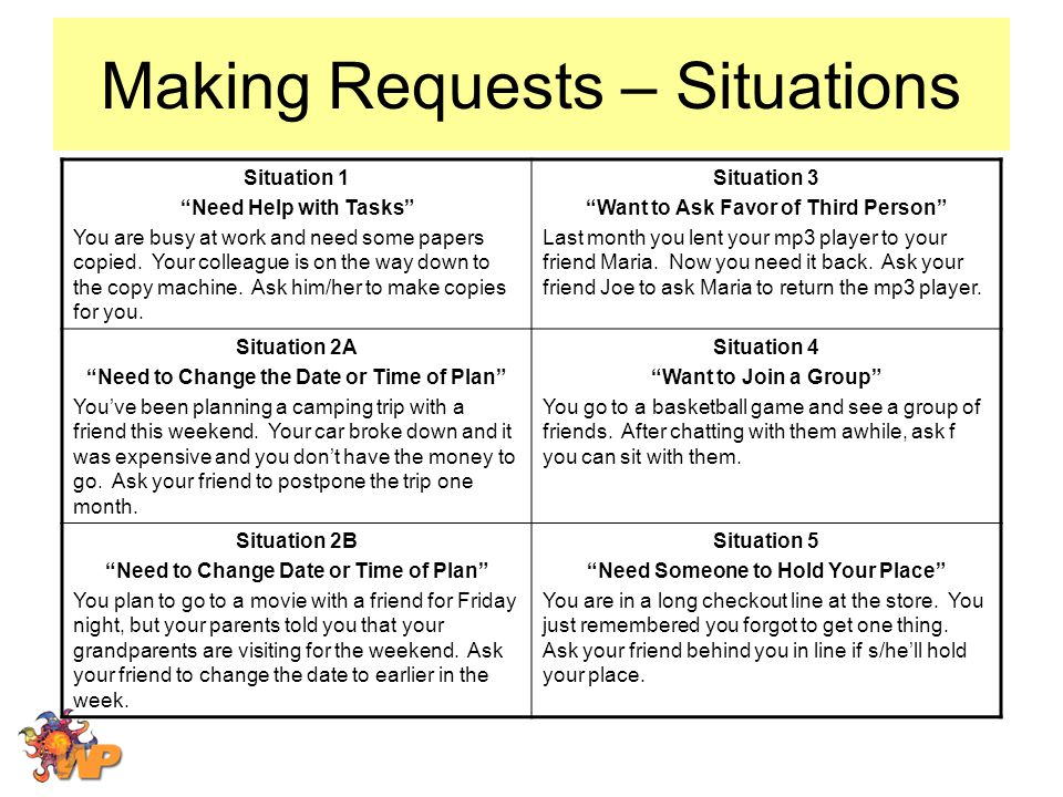 Making Requests – Situations Situation 1 Need Help with Tasks You are busy at work and need some papers copied.