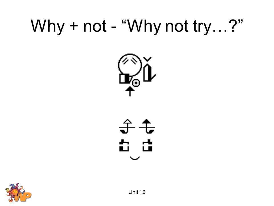 Unit 12 Why + not - Why not try…