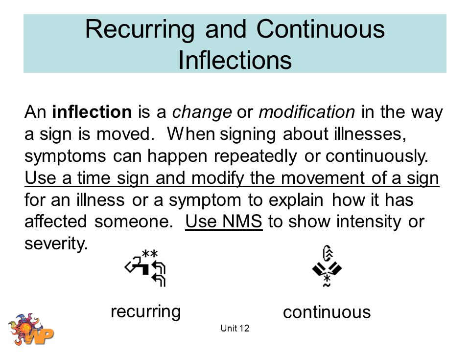 Unit 12 Recurring and Continuous Inflections An inflection is a change or modification in the way a sign is moved.