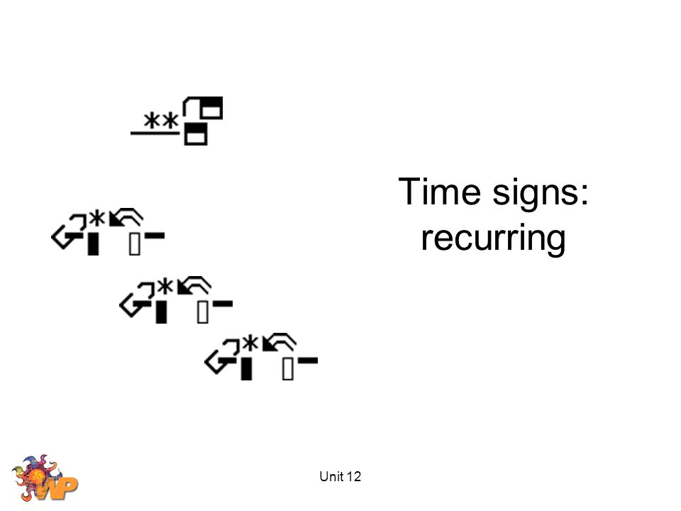 Unit 12 Time signs: recurring