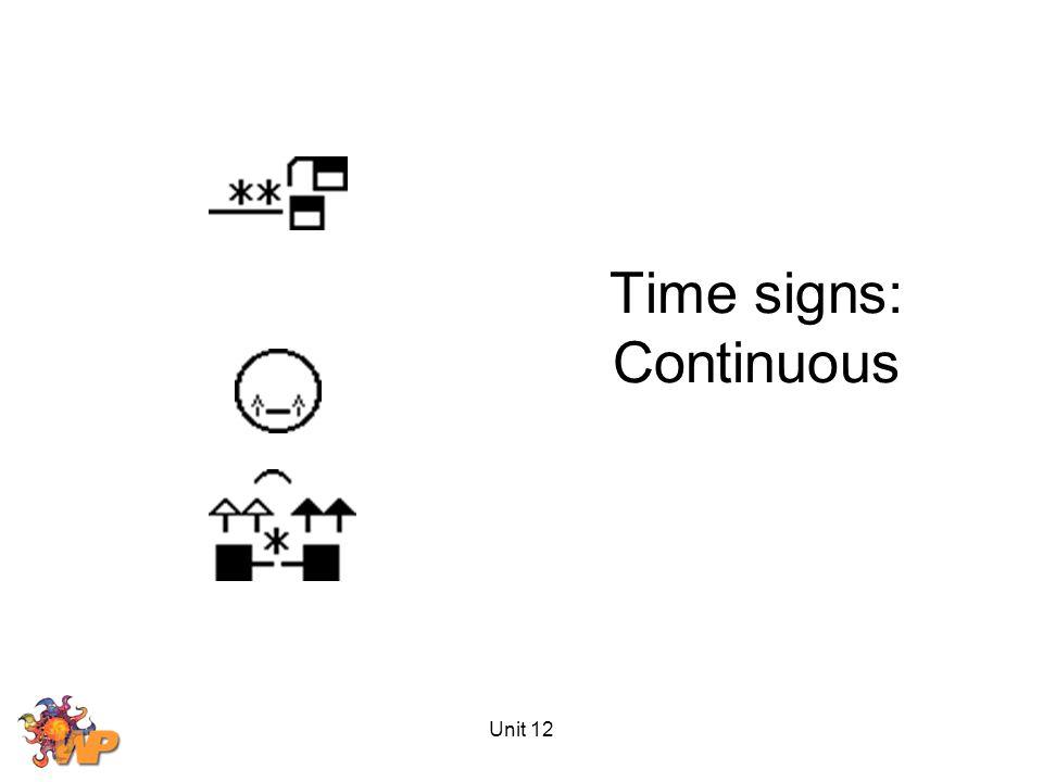 Unit 12 Time signs: Continuous