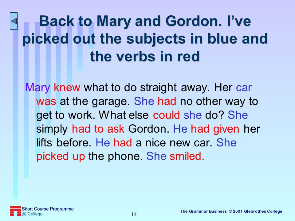 The Grammar Business © 2001 Glenrothes College 14 Back to Mary and Gordon.