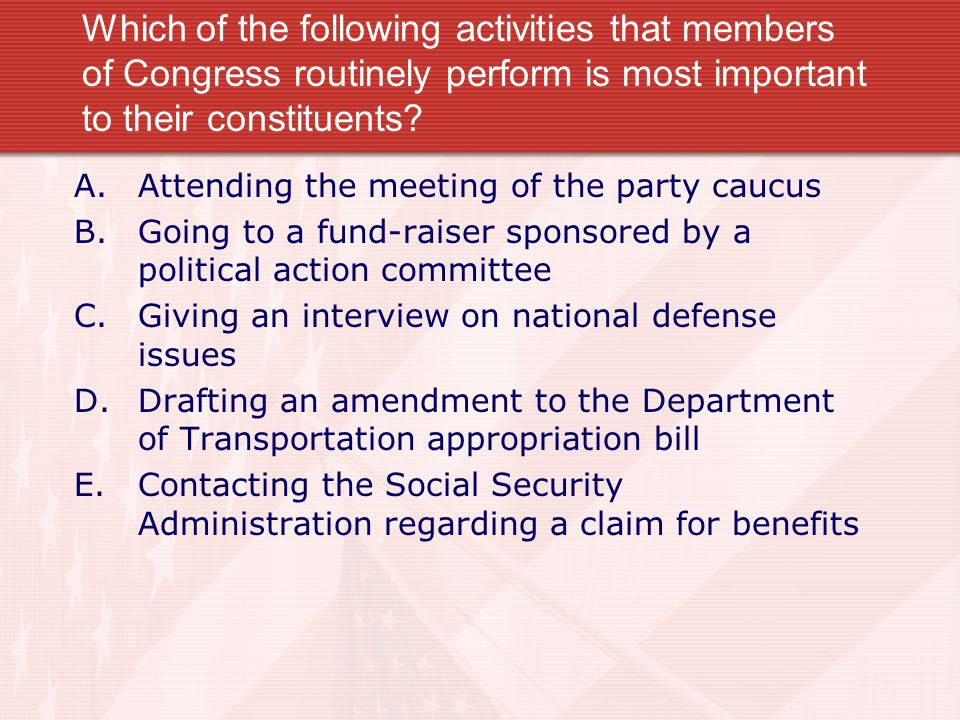 Which of the following activities that members of Congress routinely perform is most important to their constituents.