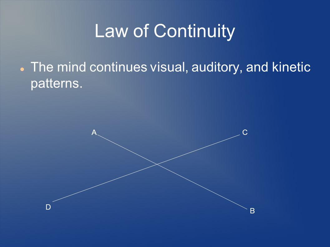 Law of Continuity The mind continues visual, auditory, and kinetic patterns. A B C D