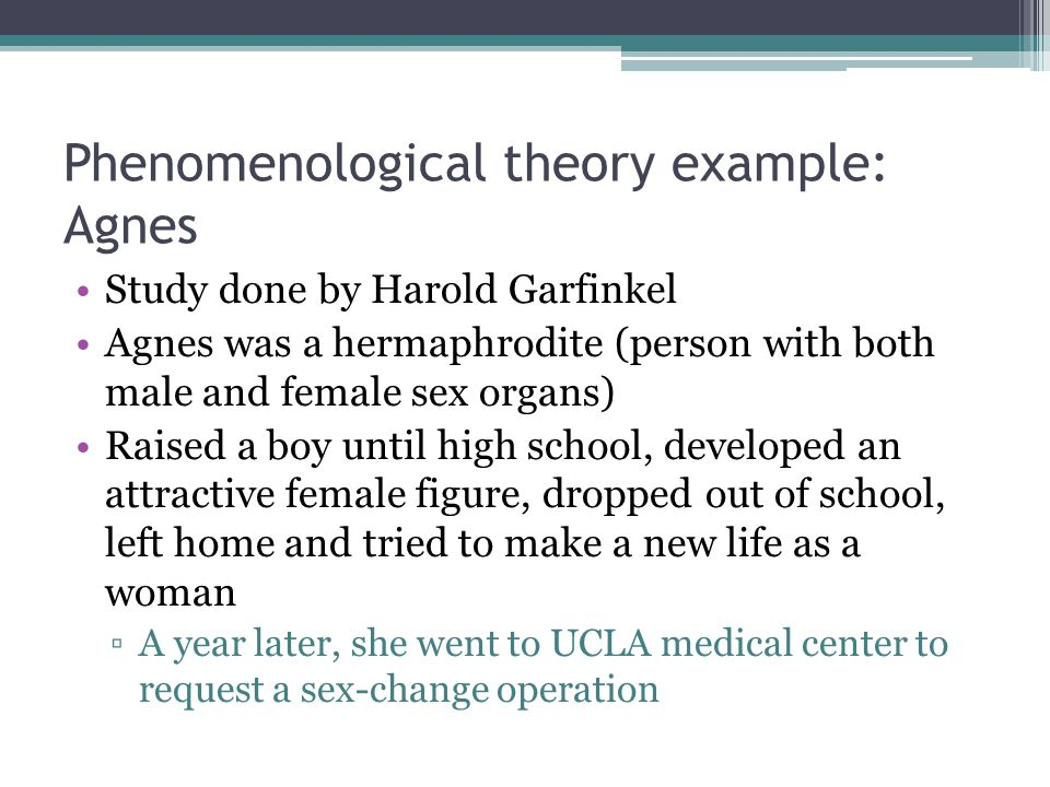 Phenomenological theory example: Agnes Study done by Harold Garfinkel Agnes was a hermaphrodite (person with both male and female sex organs) Raised a