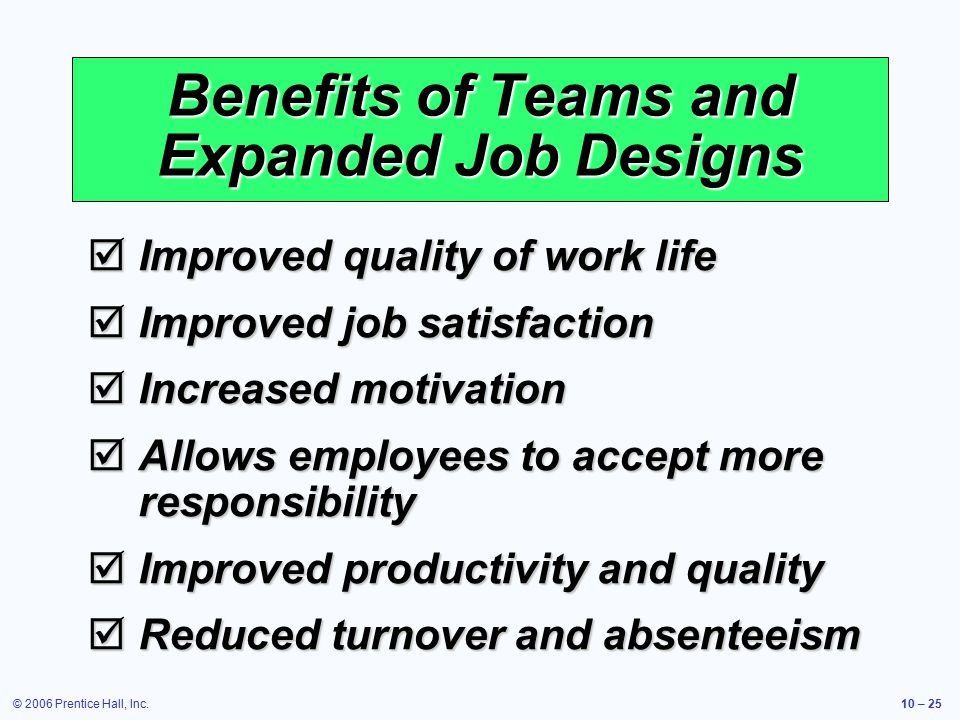 © 2006 Prentice Hall, Inc.10 – 25 Benefits of Teams and Expanded Job Designs  Improved quality of work life  Improved job satisfaction  Increased motivation  Allows employees to accept more responsibility  Improved productivity and quality  Reduced turnover and absenteeism