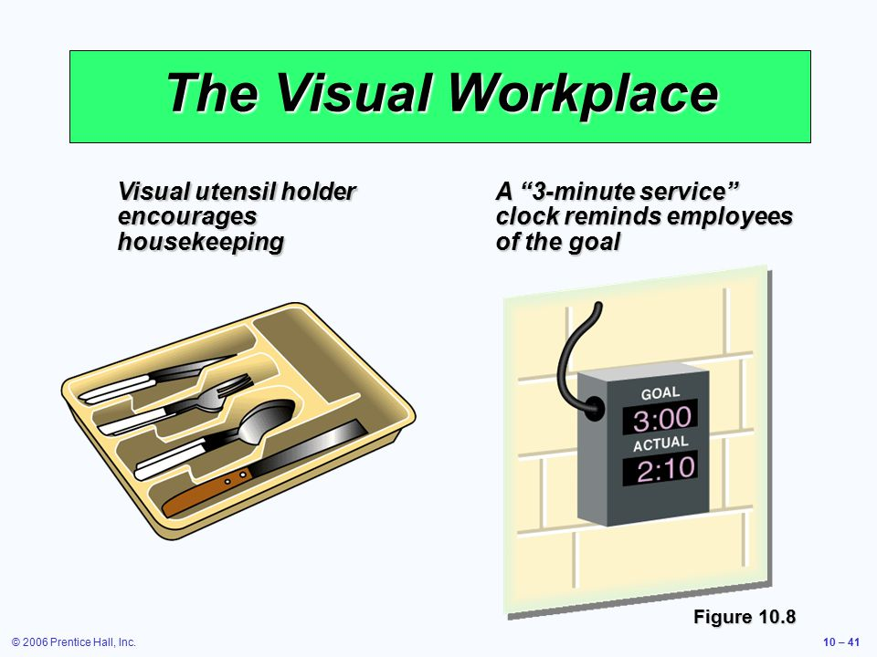 © 2006 Prentice Hall, Inc.10 – 41 The Visual Workplace Visual utensil holder encourages housekeeping A 3-minute service clock reminds employees of the goal Figure 10.8