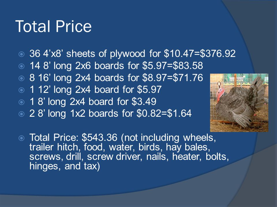 Total Price  36 4'x8' sheets of plywood for $10.47=$376.92  14 8' long 2x6 boards for $5.97=$83.58  8 16' long 2x4 boards for $8.97=$71.76  1 12' long 2x4 board for $5.97  1 8' long 2x4 board for $3.49  2 8' long 1x2 boards for $0.82=$1.64  Total Price: $543.36 (not including wheels, trailer hitch, food, water, birds, hay bales, screws, drill, screw driver, nails, heater, bolts, hinges, and tax)